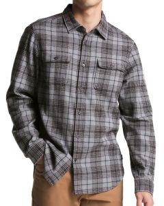 The North Face Men's Long Sleeve Arroyo Flannel Monument Grey Larkspur
