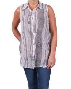 Simply Noelle Women's Art Gallery Button Down Top White
