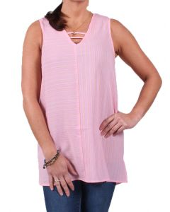 Simply Noelle Women's Up and Across Striped Top Punch