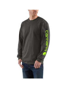 Carhartt Men's Signature Sleeve Logo Long Sleeve T-Shirt Peat