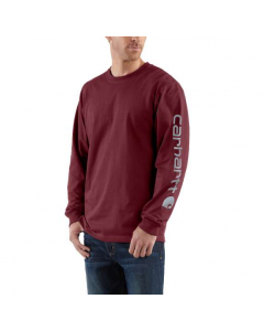 Carhartt Men's Signature Sleeve Logo Long Sleeve T-Shirt Port
