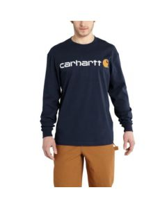 Carhartt Men's Signature Logo Long Sleeve T-Shirt Navy