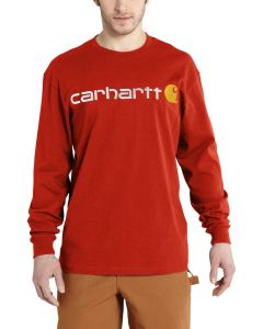 Carhartt Men's Signature Logo Long Sleeve T-Shirt Rustic Orange