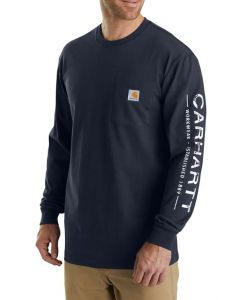 Carhartt Mens Workwear Logo Sleeve Graphic Long Sleeve T-Shirt Navy