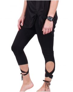 One 5 One Women's Wraparound Tie Leggings Black