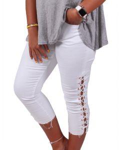 One 5 One Women's Reverse Hem Side Tie Jeans White