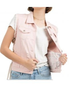 POl Clothing Women's Denim Vest Pink