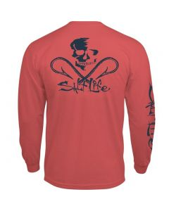 Salt Life Men's Skull & Hooks T-Shirt Burnt Coral