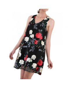 Umgee Women's Sheer Embroidered Dress Black
