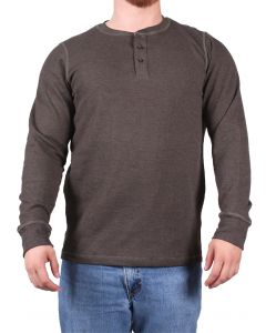 North River Men's Long Sleeve Waffle Henley Olive Heather