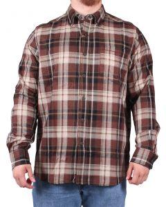 North River Men's Long Sleeve Herringbone Shirt Chocolate