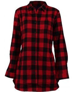 Pacific Teaze Women's Stillwater Flannel Tunic Red Buffalo
