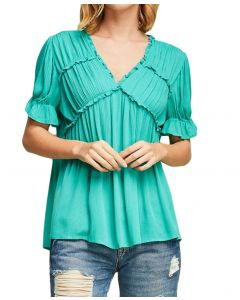 Entro Women's Ruffle Sleeve Top Jade