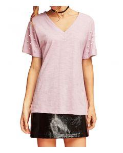 Entro Women's Pearl V-Neck T-Shirt Lavender