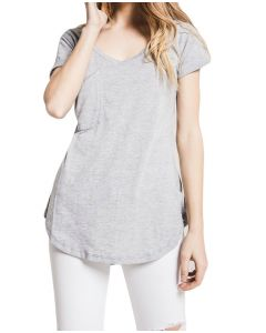 Z Supply Women's Sleek Pocket T-Shirt Heather Grey