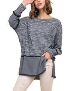 Umgee Women's Heathered Fabric Top Plus Navy