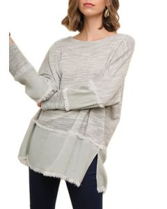 Umgee Women's Heathered Fabric Top Plus Silver