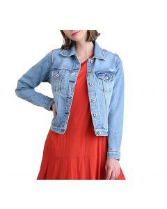 Umgee Women's Distressed Denim Jacket Light Denim