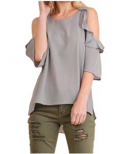 Umgee Women's Plus Cold Shoulder Top Cool Grey