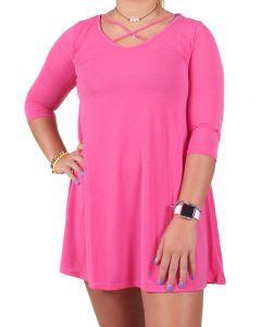 Deloache Women's Crisscross Dress Hot Pink