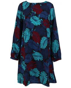 AAKAA Long Sleeve Shift Dress Blue Multi