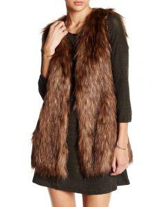 Angie Women's Fur Vest Brown