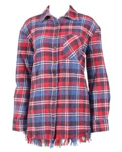 Angie Women's Flannel Fringe Top Blue