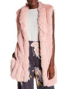 Angie Women's Furry Vest Blush