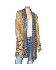 Angie Women's Long Sleeve Open Front Sweater Mustard-Blue