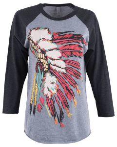 Bohemian Cowgirl Raglan Indian Spirit T-Shirt Black Grey