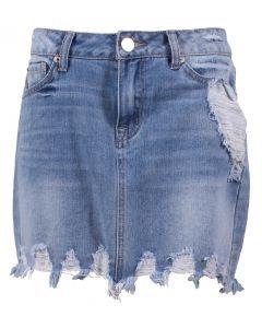 Boom Boom Jeans Women's Destructed Mini Skirt Light Wash