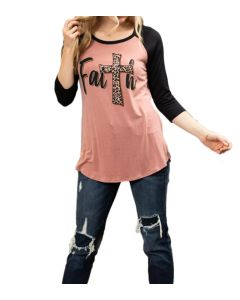 Lovely Souls Women's Leopard Faith T-Shirt Black Marsala