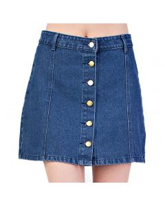 Mittoshop Women's Button Down Mini Skirt Dark Denim