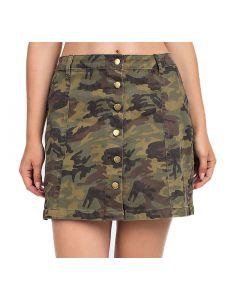 Mittoshop Women's Camo Button Down Skirt Olive