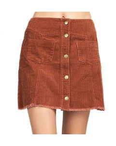 Mittoshop Women's Button Down Corduroy Skirt Bronze