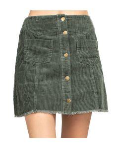 Mittoshop Women's Button Down Corduroy Skirt Olive