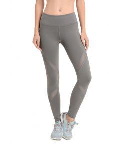 Mono B Women's Cross Mesh Pocket Leggings Medium Grey
