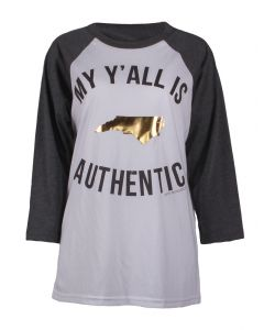 Pink Armadillo Women's My Y'all Is Authentic Grey White