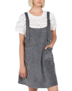 POL Women's Overall Cord Dress Grey