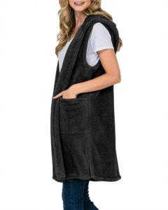 Tres Bien Women's Fuzzy Hood Vest Black