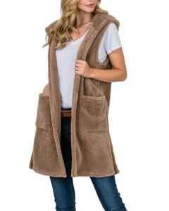 Tres Bien Women's Fuzzy Hood Vest Taupe