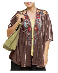 Umgee Women's Floral Embroidered Velvet Kimono Mocha