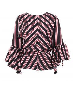 Umgee Women's Striped Bell Sleeve Top Black Mix