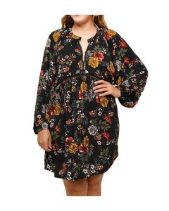 Umgee Women's Floral Puff Sleeve Babydoll Dress Black Mix