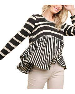 Umgee Women's Striped Long Sleeve Babydoll Top Black