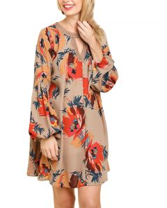 Umgee Women's Floral Print Puff Sleeve Dress Taupe Mix