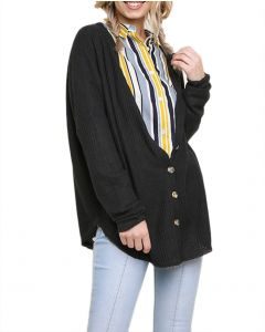 Umgee Women's Waffle Knit Button Front Cardigan Black