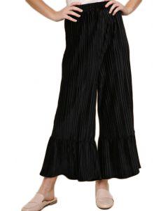 Umgee Women's Velvet Pleated Flare Pants Black