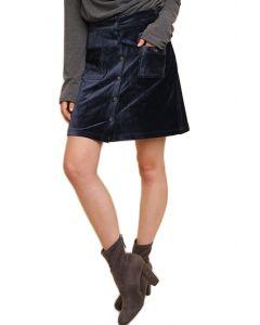 Umgee Women's Velvet Corduroy Mini Skirt Navy