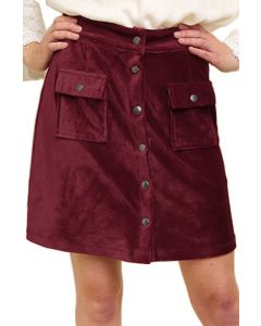 Umgee Women's Velvet Corduroy Mini Skirt Wine